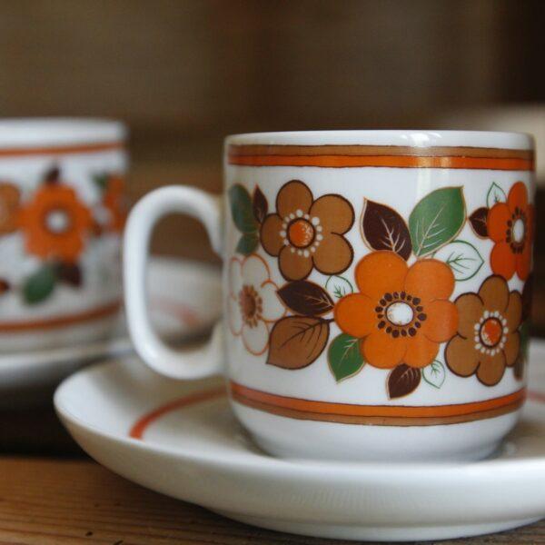 Tasses à café fleurs oranges monopoli porcelaine italienne vintage aux retrouvailles